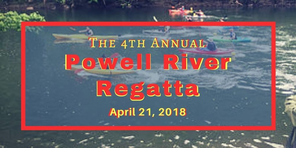 "The 4th Annual Powell River Kayak & Canoe Regatta is a 12-mile race on the scenic Powell River in NE Tennessee beginning at the Well Being Retreat Center and ending at Riverside Rentals. The event is a production of the Claiborne County Chamber of Commerce and the Claiborne County Tourism Commission. All net proceeds of the race will benefit the Powell River Blueway Trail Project, an effort of the Claiborne County Tourism Commission to improve public access to the Powell River for paddling and fishing.   There will be eight race categories and a ""recreational"" category for those who are not all that competitive.  Last year there were 82 boats participating. We expect over 100 boats this year.  Registration opens February 15, 2018. More information about this event - >https://www.wellbeingretreatcenter.org/regata-2018"