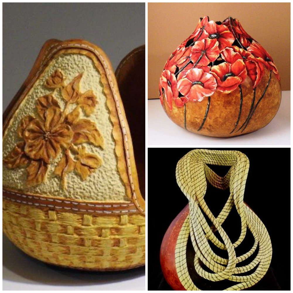 Distinctive Gourds, A Sculpture From Nature   https://distinctivegourds.com/    Marty  McConnaughey is a sculptural artist whose passion for a natural, organic  design is evident in each piece she completes .       It all begins with a humble gourd, most would not give it a second glance. I see it as viable means to create something unique and unexpected. The use of pine needles and other elements from nature brings an organic component that draws the viewer on a tranquil journey.  The hours I spend cleaning, scraping and sanding a gourd allows me the time to study its form, its flaws, its strengths and what will make this piece unique from others. I am compelled to create a sculpture that enhances a wide range of decors: collectors find that there is a strong element in my work that compliments their individual tastes.  I feel truly blessed for the opportunity to use what has been given to me to bring joy and inspiration to others.