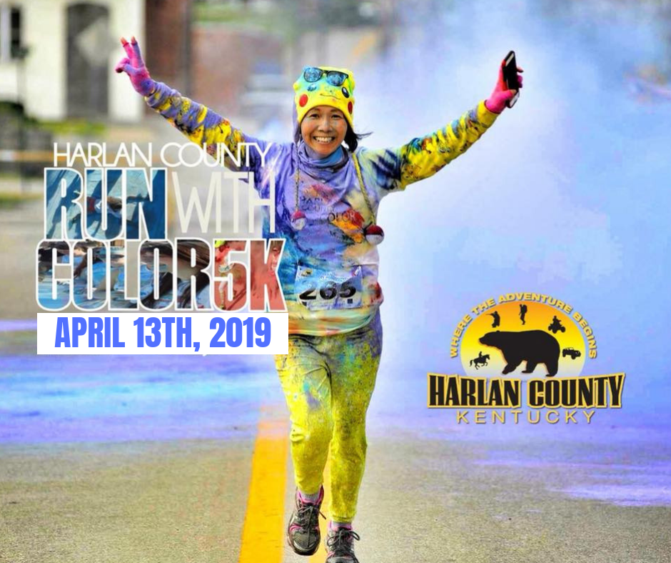 To register online follow this link:  https://harlantourism.redpodium.com/harlan-county-run-with-color-5k-2019