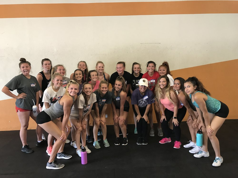 Pomona's Cheer Team is working with us this summer! Their first week has been awesome! Hardworking girls who pay attention and give it their best!