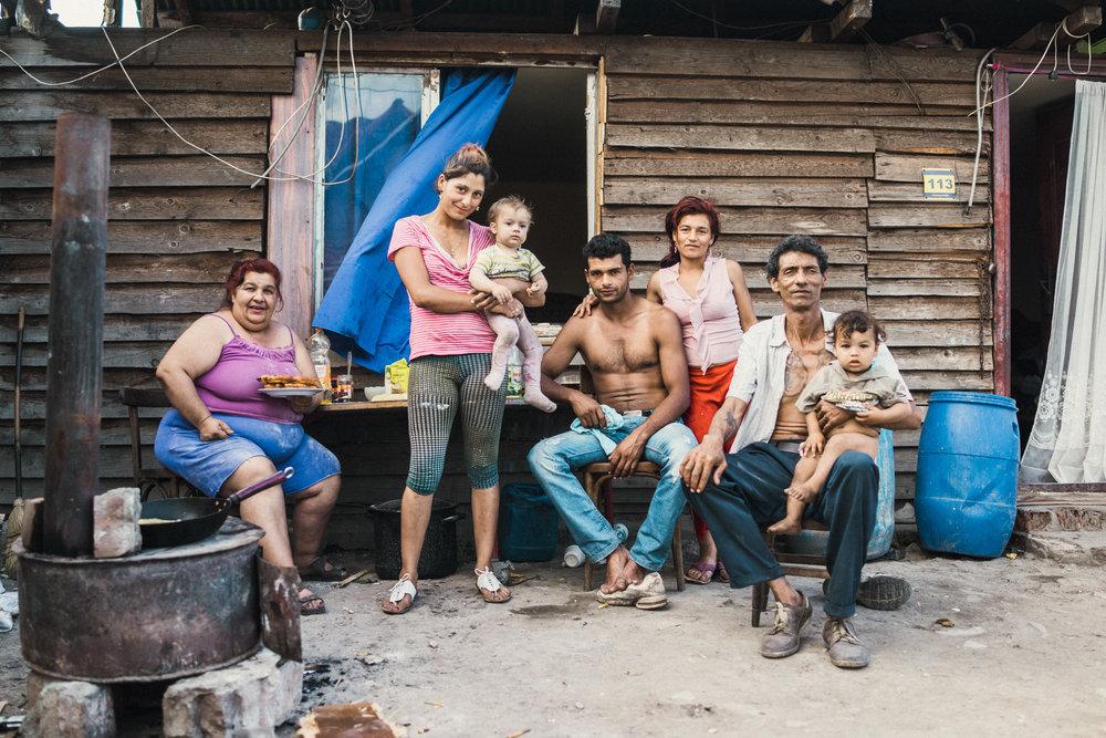 Family series.  Roma family, Pata Rat, Transylvania 2014