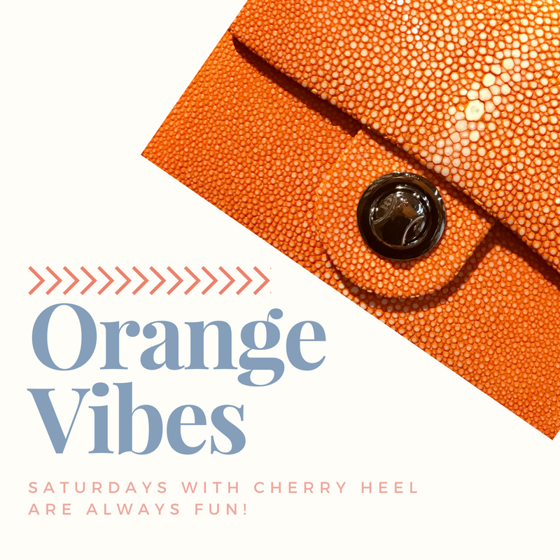 Orange bag in galuchat leather from Ninety for Cherry Heel