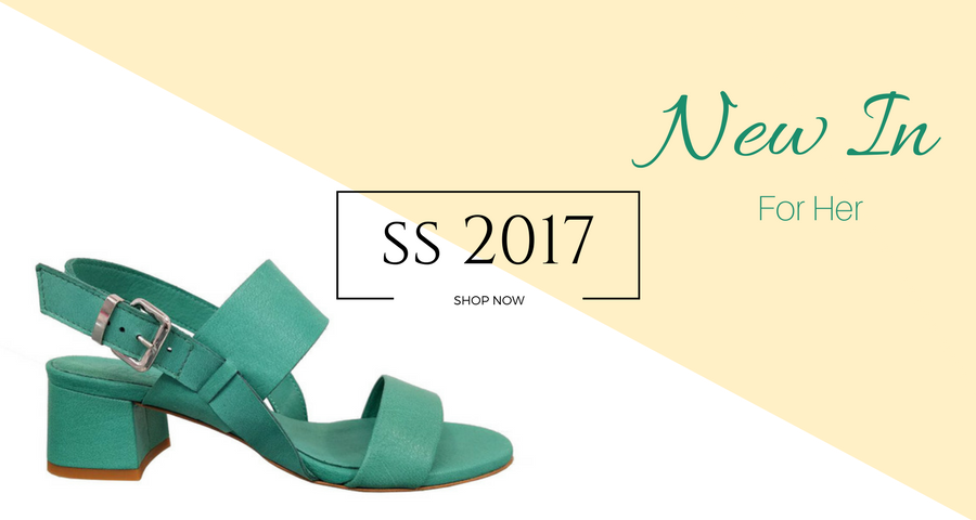 Green Sandals in leather