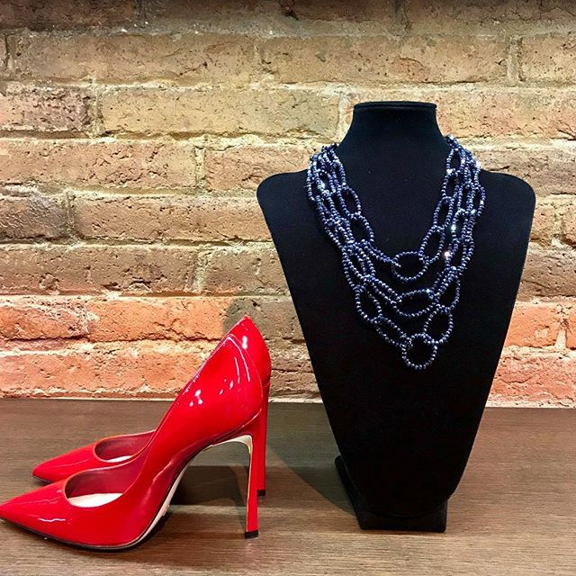 Shiny Monday!! ✨ . Give a touch of sparkle to your outfit with these beauties. 👌🎇 . Strass Blue necklaces with tiny crystals 💎  Sebastian red stiletto with mirror effect 10cm  heel. 👠 . 📍Shop Online or in the store with our incredible discounts, UP TO -50% OFF!! . 😍 HAPPY MONDAY 😍 . . . . #CherryHeel #Barcelona #style #shopping #moodoftheday #madeinitaly #fashion #shoes #heels #musthave #stiletto #red #itgirl #ootd #design #fashionable #lookoftheday #styleoftheday #writer #inspiration #blogger #igersbcn #travel #bcn #moda #барселона #шоппинг #стиль #красный
