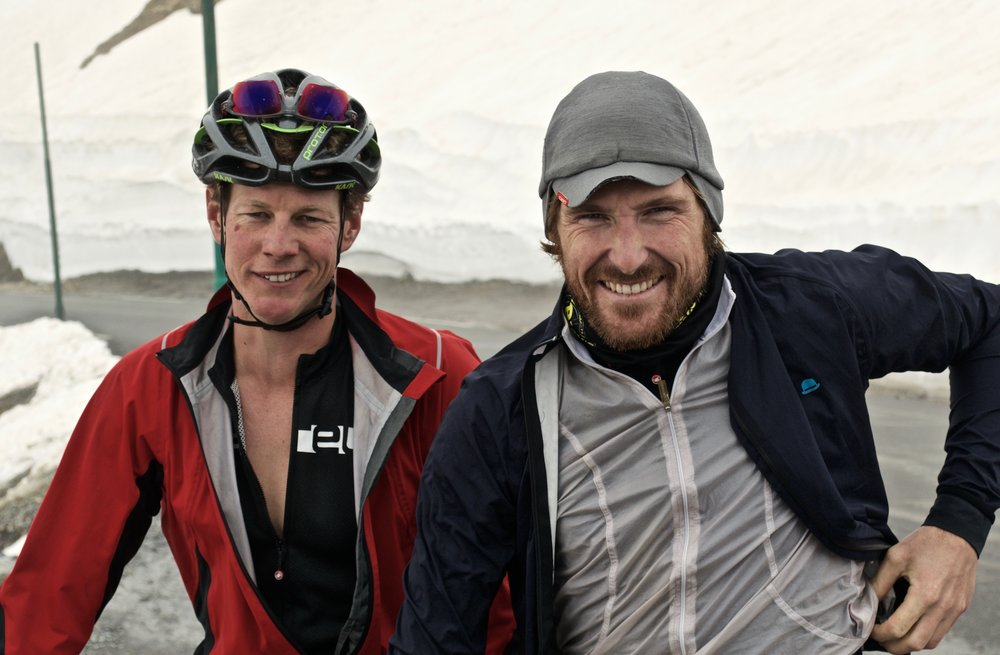 Nick Thornado and Richard Tanguy getting their Edmund Hilary on at the summit of Col Du Galibier