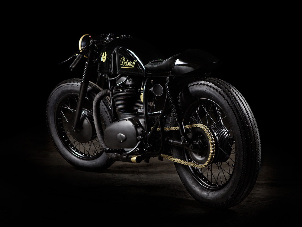 The bike's final design was based on ideas and discussions which focused on this Belstaff custom motorcycle build.