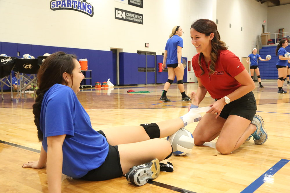Athletic Training - Athletic training is a field filled with many sidelined athletes. Perhaps when you were injured your school athletic trainer was the first to help? Maybe you're interested in the medical field? Athletic trainers (ATs) are highly qualified, multi-skilled health care professionals who collaborate with physicians to provide preventative services, emergency care, clinical diagnosis, therapeutic intervention and rehabilitation of injuries and medical conditions. Have you ever wondered how you can be apart of the medical field and helping care for other athletes; all while still being apart of the sports world? Athletic Training is great way to do all that! Experience the thrill of being at the games while helping others.