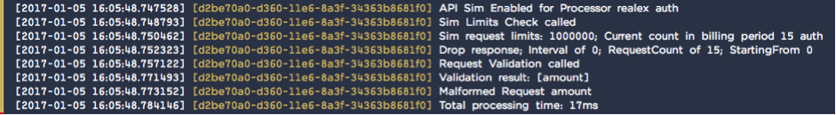 The Testing Pays sim telling me exactly what was wrong with my Realex request