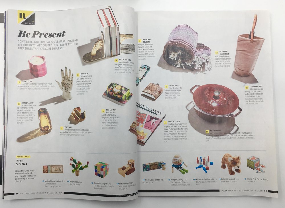 Ombre Gallery and Mia Hebib are featured in Cincinnati Magazine's Holiday Gift Guide 2017