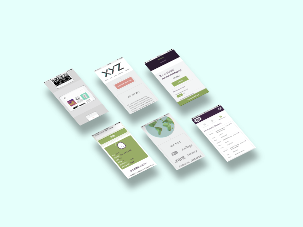 XYZ - Branding, UX/UI, character design, and illustration for the corporate company XYZ as well as their subsidiary TLDs
