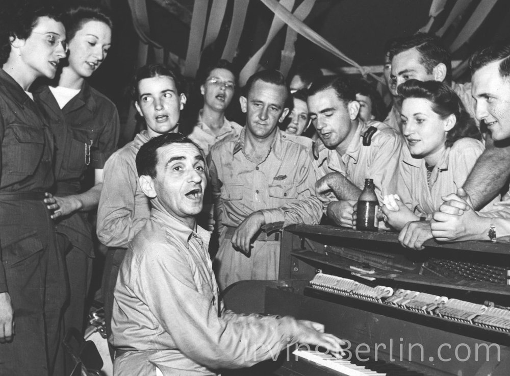 Irving Berlin playing for troops