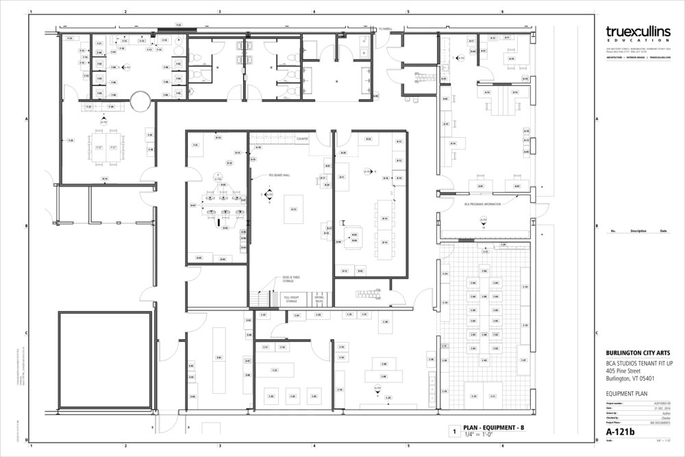 Floor plan as of January 2017. Click for a larger view! Clockwise from top left: Community Darkroom + Classroom, Bathrooms/Sink Room, Education Offices, Clay Studio, Jewelry Studio. Center, left to right: Digital Lab + Lighting, Painting + Drawing Studio, Printmaking Studio