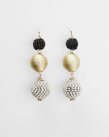 fabric ball linear drop earrings.jpg
