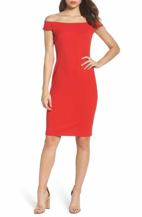 eliza j off the shoulder sheath dress.jpg