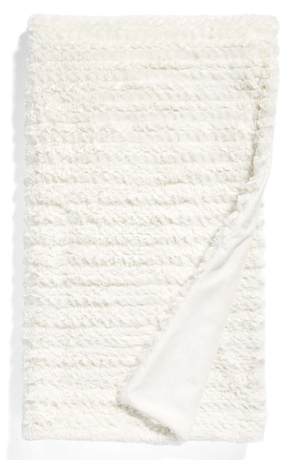 """Nordstrom at Home Soft Ribbed Plush Throw - This throw is gorgeous and comes in ivory (pictured), grey & beige oatmeal. Perfect for that """"Netflix & Chill"""" couple in your life and only $49!"""