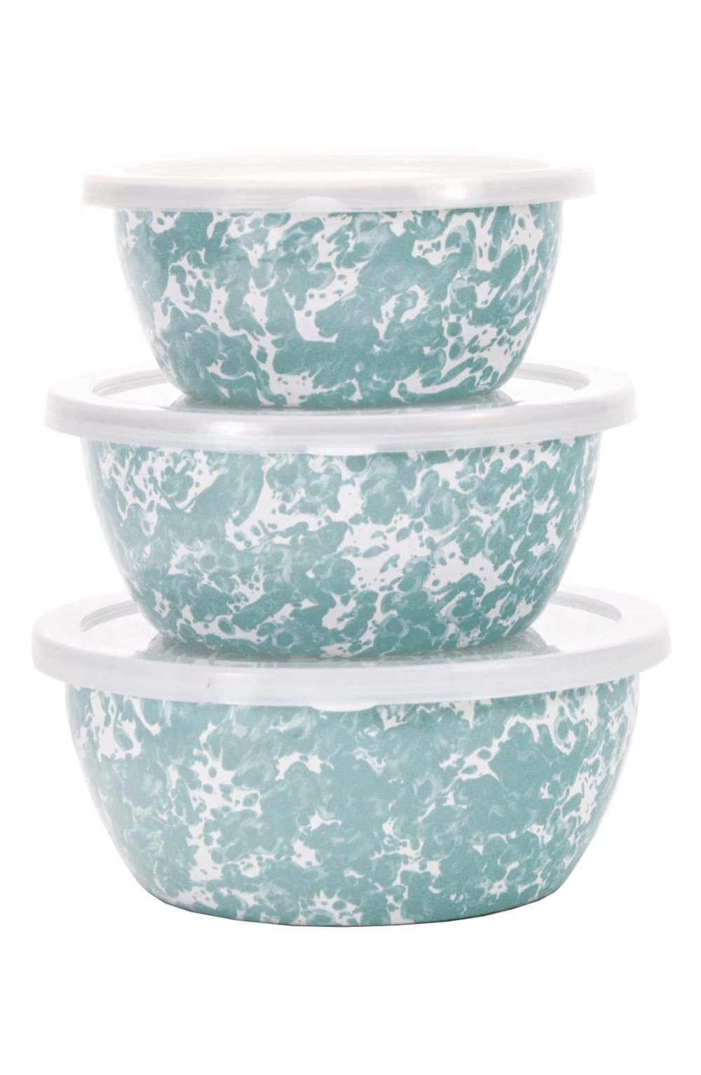 Golden Rabbit Set of 3 Nesting Bowls - These nesting bowls are so pretty and come in this gorgeous sea glass color, red swirl and blue swirl. They are sure to make any counter or fridge pop and are only $31.99.