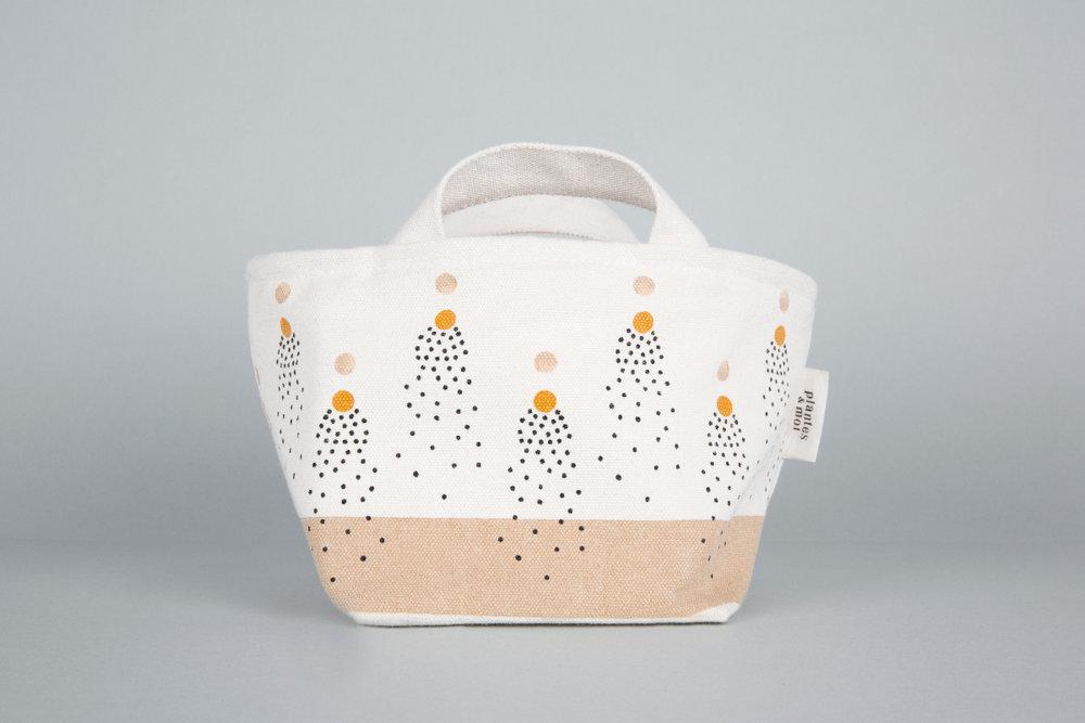 Collection Sirocco /Petit modèle Dimensions = L24xH13xP14cm Toile de coton biologique / doublure étanche / confectionné en France