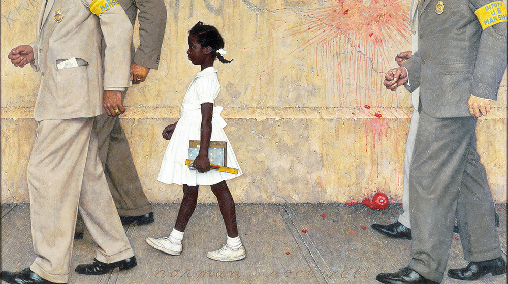 "Norman Rockwell's ""The Problem We All Live With"" depicts Ruby Bridges on her way to school."