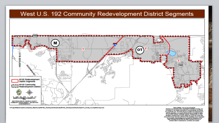 Osceola County's W192 Development Authority votes Wednesday on a plan to divide the district into eight zones and prioritize spending among them. The Margaritaville area (M) and the Old Town district (OT) are contenders for capital investment.