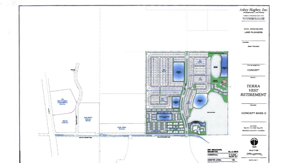 Polk developer Jean Marsan filed a conceptual site plan mixing single family homes, apartments, commercial uses and assisted living on this 156.4-acre site next to ChampionsGate.