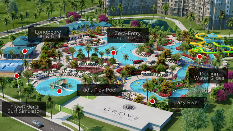 A rendering of the seven-acre swimming pool and amenities area at The Grove Resort & Spa, to include a FlowRider surf simulator, zero-entry lagoon pool, lazy river and dueling water slides.
