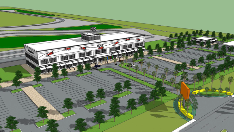 Orlando Motorsports Park submitted this rendering of the tourist attraction and retail center with its noise variance application.   (VHB)