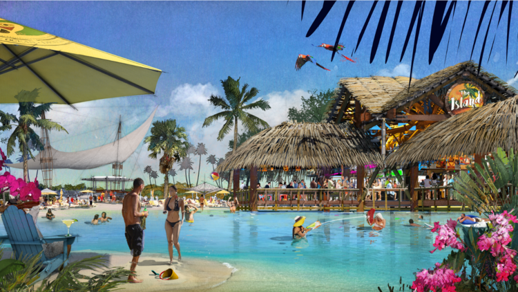 The resort features a huge swimming lagoon with swim-up bar. (Margaritaville Resort)