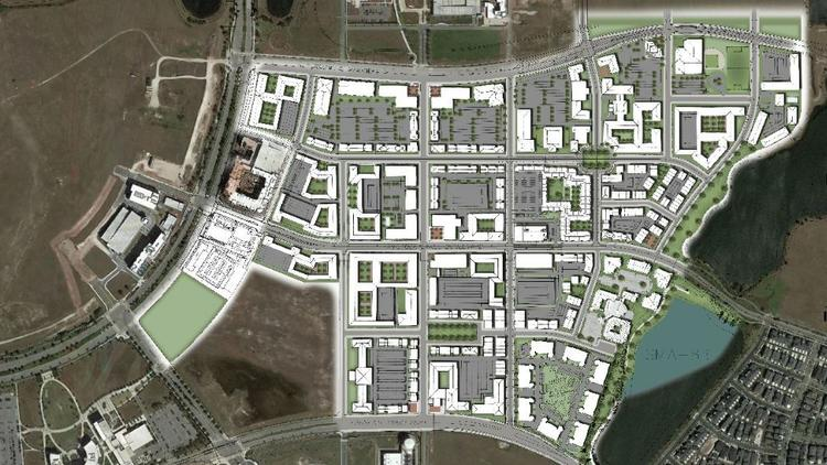 In this version of the Mixed-Use District Fit Plan submitted to the city, public green space and small parks can be seen throughout the 22 city blocks.  (PLACE Alliance)