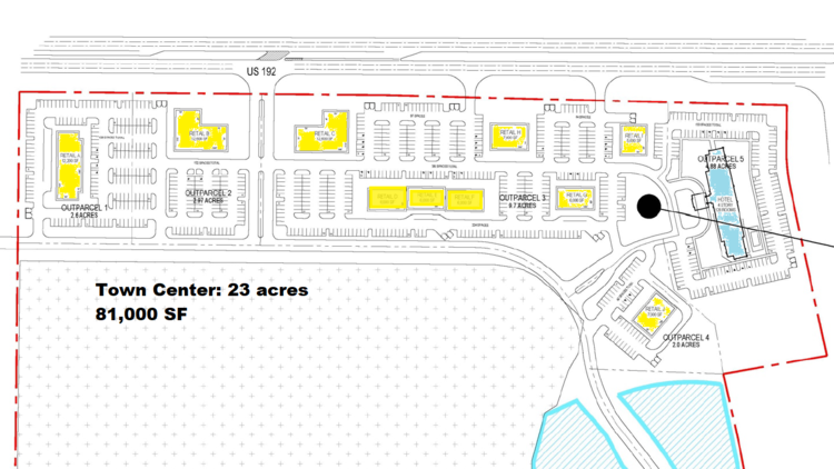 The 23 acres on the northern end of the parcel, fronting on U.S. 192, are already permitted to allow retail development, including a hotel site (in blue.) (Osceola County - color added)