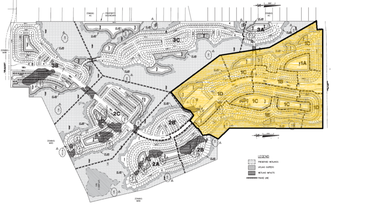 Pulte Homes, parent company of Del Webb, paid $12.3 million this week for Phase 1 (highlighted) of its 1,400-home active adult community in Sunbridge. (Donald W. McIntosh & Associates)