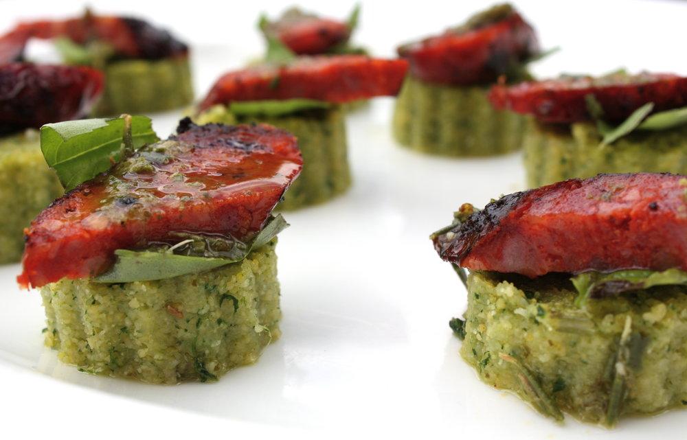 Crispy Kale Polenta with chorizo and basil oil canape.JPG