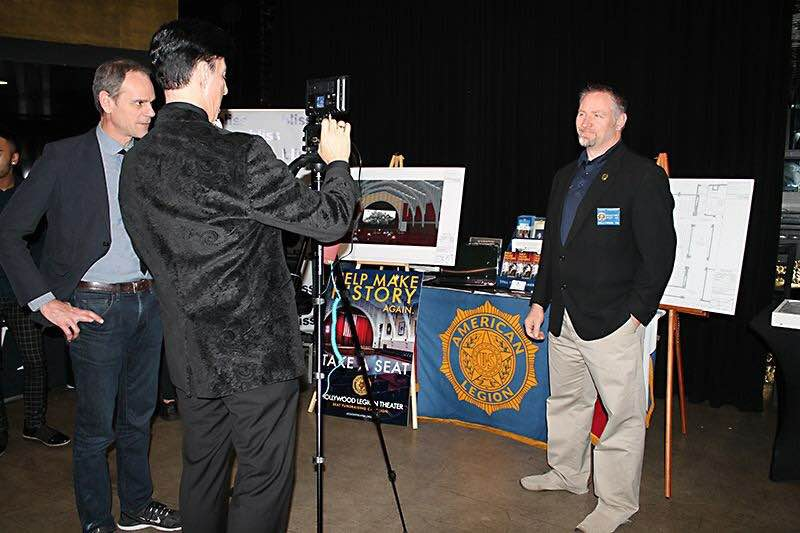 Bill Steele (left) and Karl Risinger (right) are interviewed during the Hollywood Chamber of Commerce OSCARS Media Welcome Center, promoting our theater renovation project to the global entertainment and news media, Feb. 23.