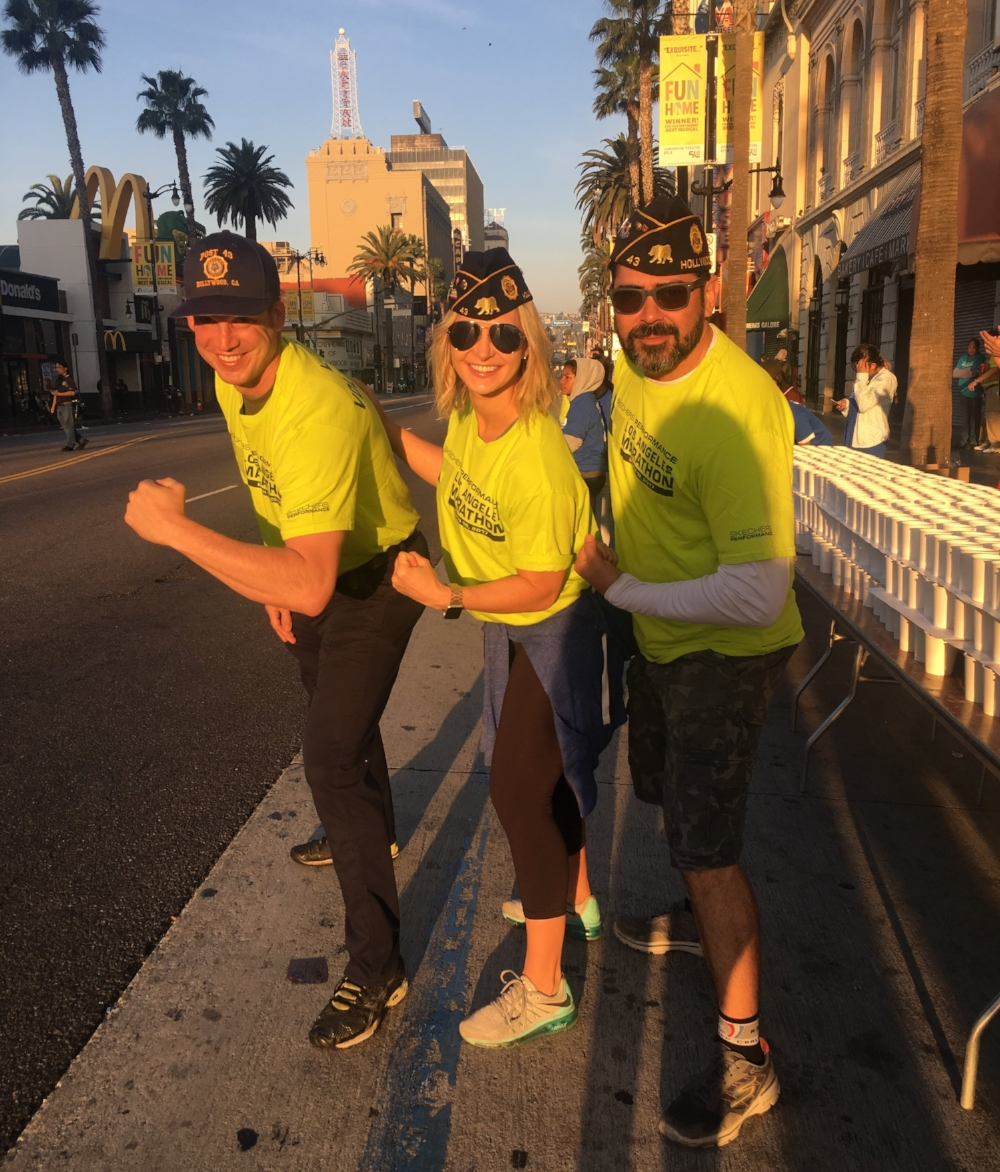 Post 43 Legionnaires operated the Mile 11 volunteer water station of the LA Marathon March 19, 2017. Supporting Hollywood, its veterans, and our members!!!