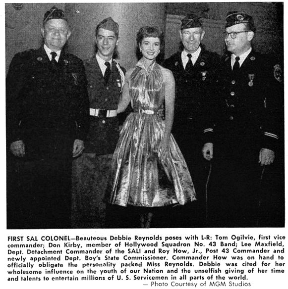 "Debbie Reynolds was SAL Squadron 43's very first ""Honorary Colonel"" in 1954."