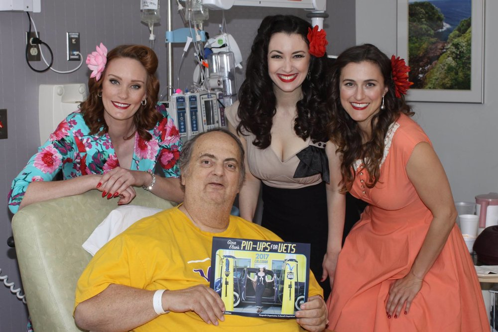 "Pin-Ups for Vets  founder and Post 43 Honorary Colonel, Gina Elise (center) and Armed Forces Veteran ""pin-up"" models -- and Post 43 Legionnaires -- Jennifer Marshall (left, USN) and Shannon Corbeil (right, USAF) visited hospitalized patients at the North Las Vegas VA Medical Center March 23, 2017.  (photos courtesy VA Southern Nevada Healthcare System)"