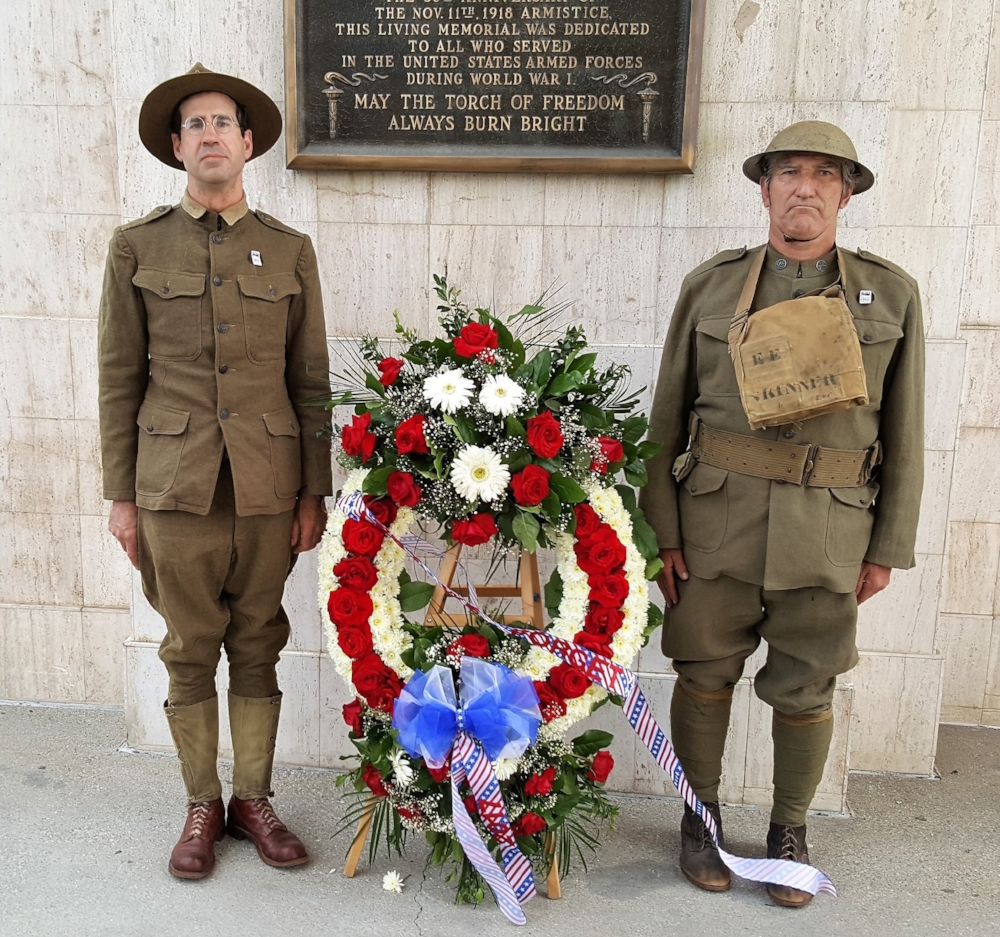 Two reenactors pose with a wreath dedicated to the war dead of WWI at the L.A. Memorial Coliseum, April 6, 2017.  Post 43 is raising money to restore and preserve a WWI memorial at Elysian Park. To learn more and to donate,   CLICK HERE .
