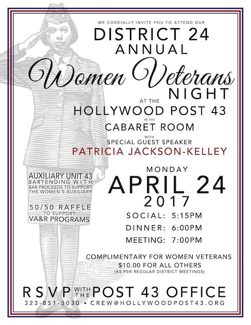TONIGHT   @ #POST43: 24th District honors women veterans with comp dinner and an inspiring program featuring Lt. Col. (RET) Patricia Jackson-Kelley. Bar proceeds benefit Auxiliary Unit 43! JOIN US!    RSVP