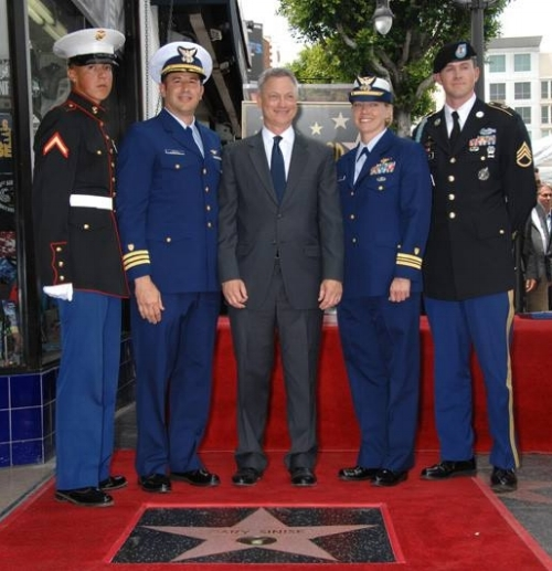 Post 43 members participated in the unveiling of a star on the Hollywood Walk of Fame for award-winning actor and friend of veterans and military, Gary Sinise, April 17, 2017. The military-themed ceremony touched on Sinise's storied acting career as well as his unparalleled philanthropy, helping Active Duty servicemembers, veterans, and wounded warriors. Post 43's youngest member, Legionnaire and Marine PFC Clayton Pitkin (pictured, left), was honored to participate in the ceremonial honor guard for the event. Congratulations, Gary! (Photo courtesy Hollywood Chamber of Commerce)