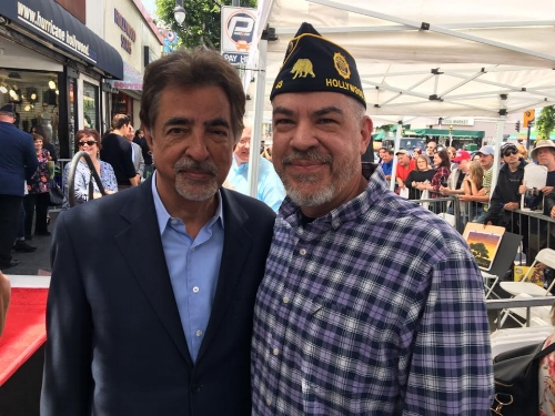 Post 43's Honorary Colonel for 2017, actor Joe Mantegna with Post 43 member, Milan Morgan at the Hollywood Walk of Fame unveiling ceremony for actor and philanthropist, Gary Sinise.