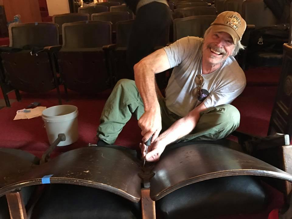 Post 43 member, Max Thayer and 40 other volunteers did their part during the Theater Demo Party May 6, 2017. The historic 1929 theater seats were disassembled and old carpet removed to make way for work on the theater renovation project.