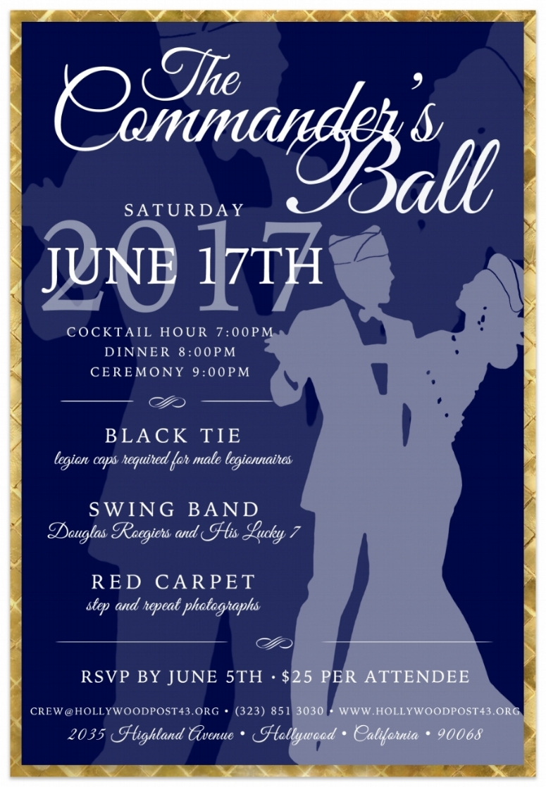 Thank you to all who purchased tickets. The Commander's Ball is SOLD OUT!  See you Saturday!