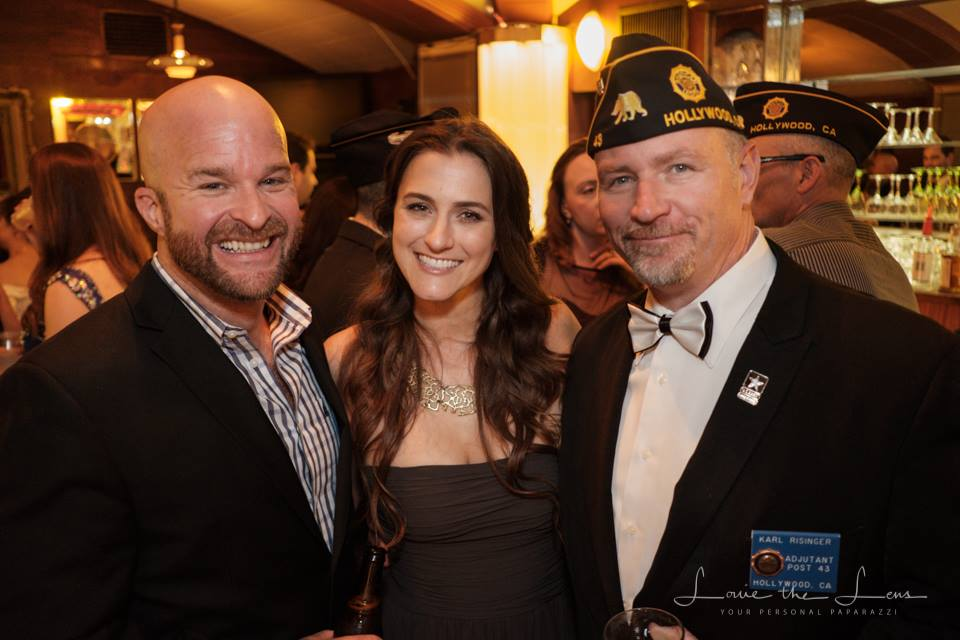 MC for the evening, comedian, Army veteran and incoming American Legion member John Stites with Post 43 member Shannon Corbeil and adjutant Karl Risinger at the 2017 Commander's Ball, June 17, 2017. (photo by Louis Katz)