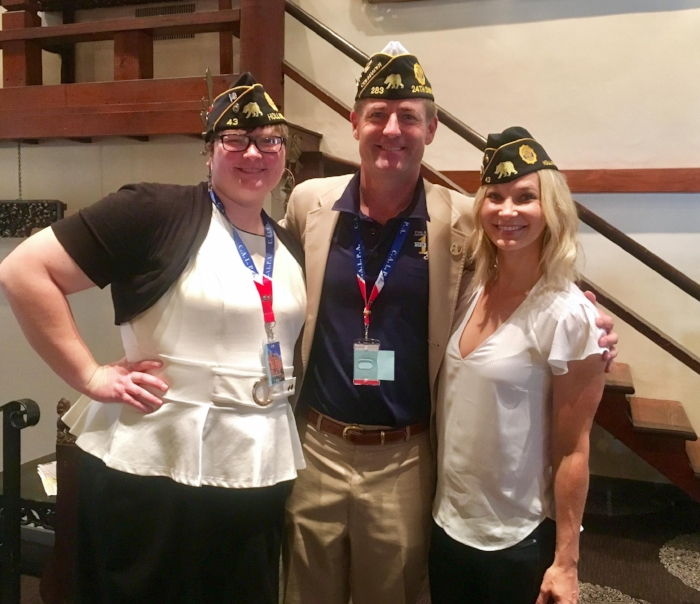 Post 43 Executive Committee officers Jennifer Crandall and Jennifer Campbell pictured with outgoing commander of the 24th District, Scott Wagenseller at Department convention in Riverside.