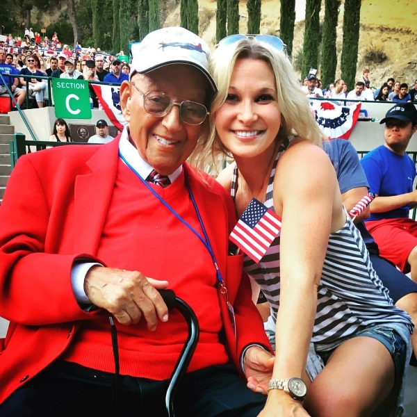 Post 43 Second Vice Commander, Jennifer Campbell with Lt. Col. Robert (Bob) J. Friend at the Starlight Bowl in Burbank, Calif. July 4, 2017. Friend, 97, is one of the surviving Tuskegee Airmen known as the Red Tails.