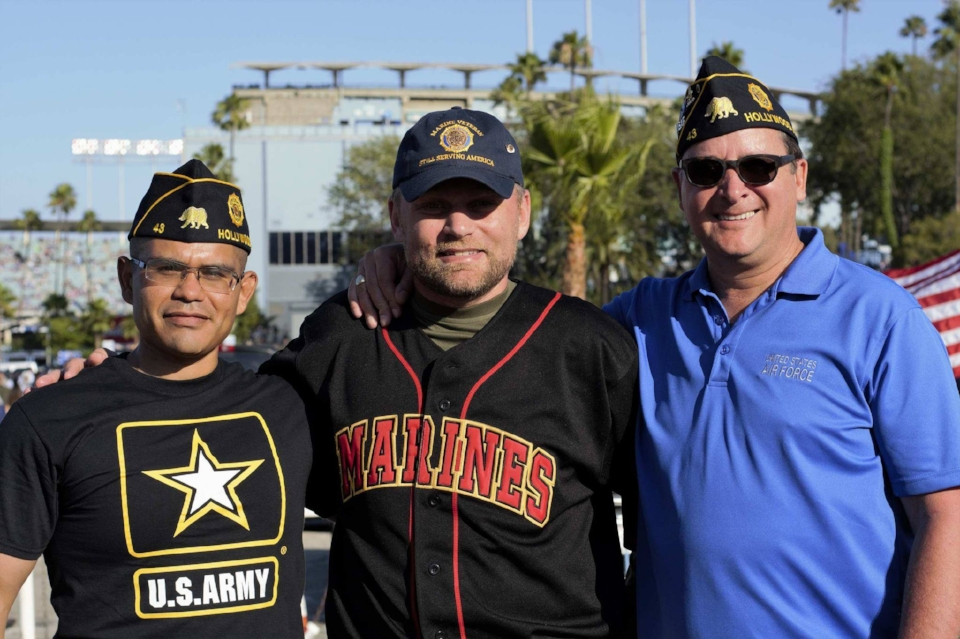 Post 43 supported 50 Star Productions and The Vet Hunters Project at Dodger Stadium on July 4, 2017, participating in the on-field flag presentation for the National Anthem! From L to R: Charles Chavez, Michael Hjelmstad and James Gill
