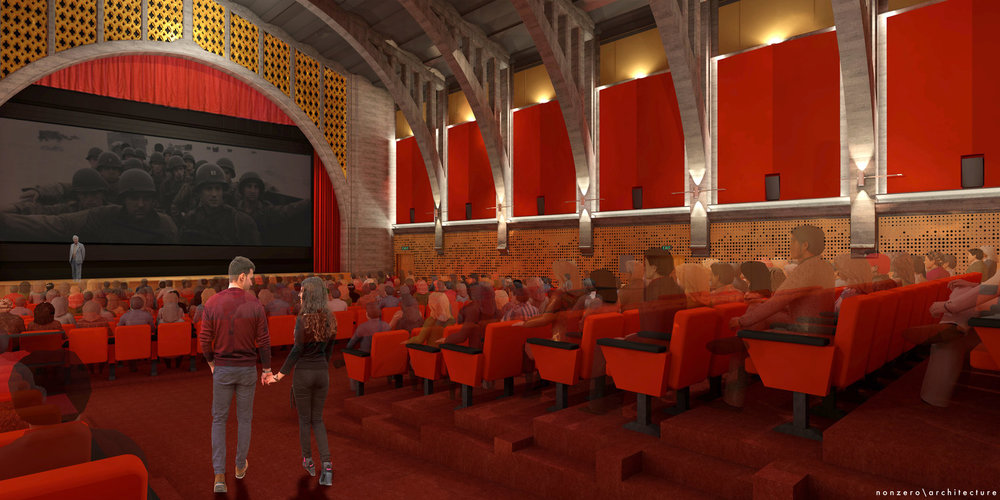 Rendering of the Hollywood Legion Theater design by nonzero/architecture
