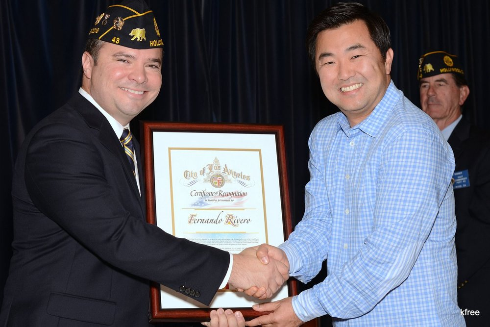 City of Los Angeles Councilmember David Ryu presented a certificate honoring Post 43 commander Fernando Rivero as the Council District 4 Veteran of the Year for 2017.