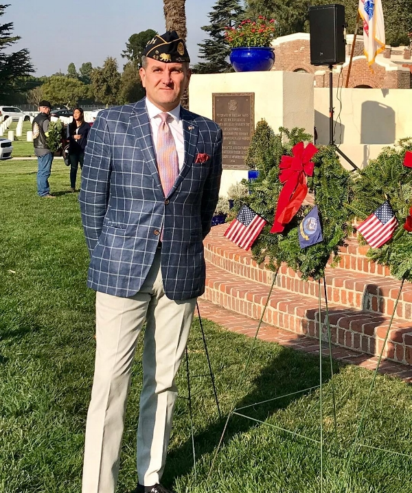 Executive Committee member Brian Fagan and several other Post 43 members participated in the Wreaths Across America Christmas wreath laying on Dec. 16 at the Los Angeles National Cemetery. MORE PHOTOS.