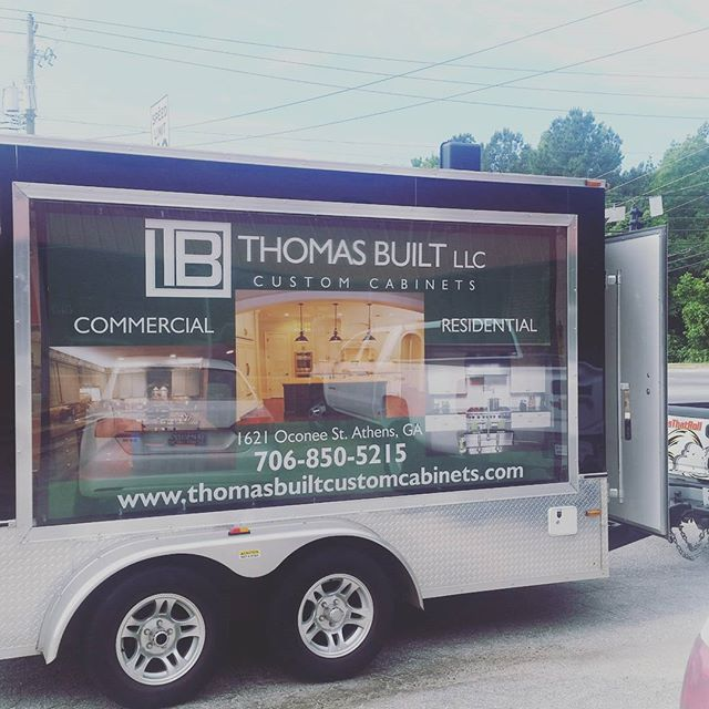 New advertisement with @signsthatroll. Look for us rolling around town. #thomasbuiltcustomcabinets #athensga