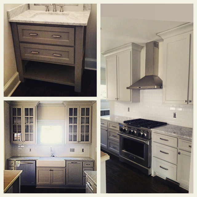 Love the soothing color of this modern kitchen and powder room. #thomasbuiltcustomcabinets #paintedmaple #athensga